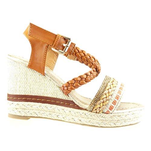 Angkorly - Zapatillas de Moda Sandalias alpargatas zapatillas de plataforma mujer strass tanga trenzado Talón Plataforma 10 CM - Camel