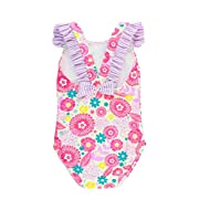 RuffleButts Infant/Toddler Girls Floral & Seersucker Ruffle Strap One Piece Swimsuit - Blooming Buttercups - 6-12m