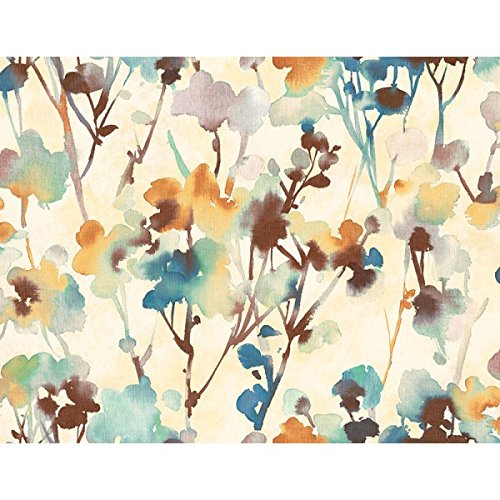 (Wallpaper Designer Large Blue Teal Gold Green Brown Watercolor Leaves on Beige)