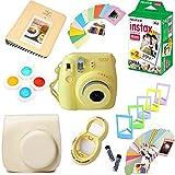 Fujifilm Instax Mini 8 Film Camera (Yellow) + Instax Mini Film (20 Shots) + Protective Camera Case + Selfie Lens + Filters + Frames Photix Decorative Design Kit