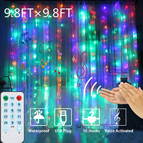 Curtain Lights Voice Activated LEDGLE Rainbow Twinkle String Lights 300 LED Fairy Window Decorative Dimmable Christmas LightsUSB Powered 4 Sound Control & 8 Lighting Modes IP44 Waterproof(Multi Color) (Christmas Curtains Window Light)