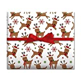 Merry Reindeer Jumbo Rolled Gift Wrap - 67 sq ft.