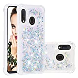 Cfrau Liquid Glitter Case with Black Stylus,Women Girls Luxury Love Hearts Series Diamond Bling Floating Quicksand Shockproof Soft TPU Case Compatible with Samsung Galaxy A20E/A10E,Silver