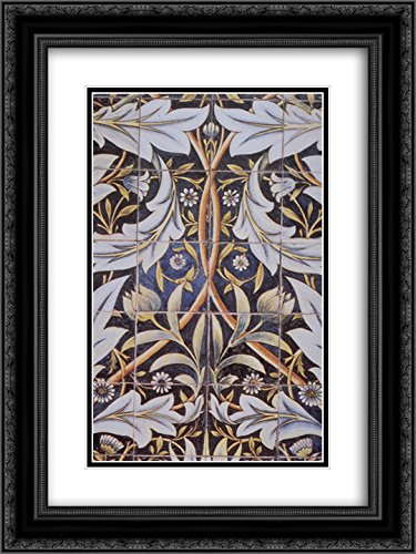 William Morris 2X Matted 18x24 Black Ornate Framed Art Print 'Panel of Ceramic Tiles Designed by Morris and Produced by William De Morgan'