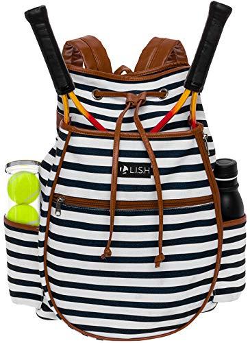 LISH Down The Line Canvas Tennis Racket Backpack – Women's Striped Print Drawstring Racquet Holder Bag (Black Stripe)