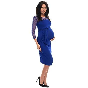Vestido informal de maternidad con encaje a puntos para embarazadas. azul azul M