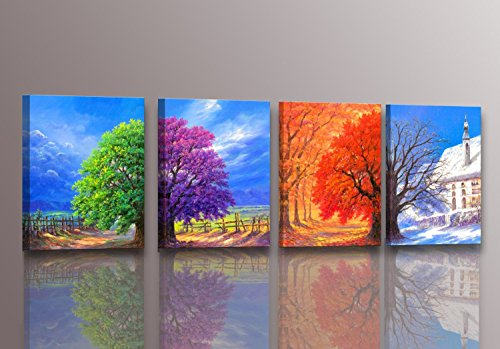 Youkuart-kx9006,canvas Prints, 4panel Wall Art Boat Spring,