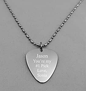 Engraved Stainless Steel Guitar Pick Necklace Pendant