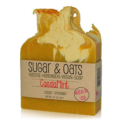 (Cassia Spearmint Face And Body Soap. Tumeric Essential Oil Vegan Palm Free & Cruelty Free Bar Soap (Cassia & Spearmint Essential Oils))