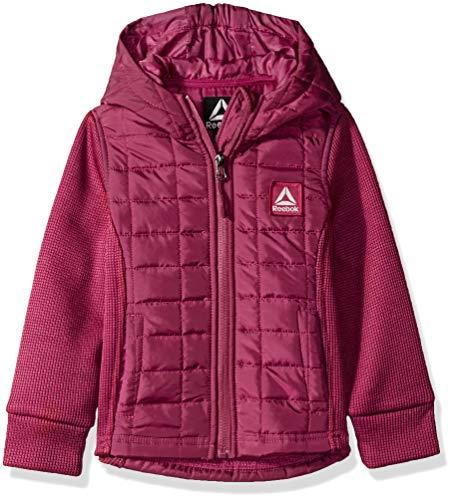 Reebok Girls' Big Active Spyder Fleece Bubble Jacket, Sangria, 10/12