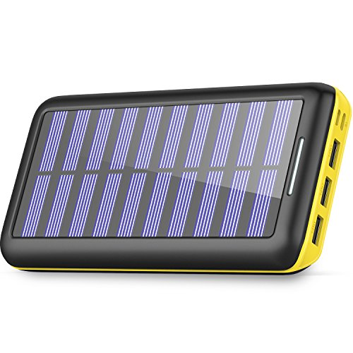 Solar Charger 24000mAh Power Bank,PLOCHY Portable Charger Solar Phone Charger with Lightning & Micro Input and 3 USB Port External Battery Pack for iPhone, Samsung Galaxy and More