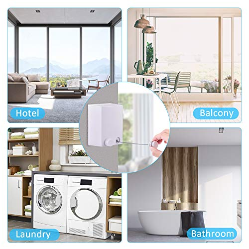 Hisome Retractable Clothesline, Adjustable Clothing Rope Indoor Outdoor, Heavy Duty Stainless Steel Line Wall Mounted Laundry Drying String, Hotel Style Clothesline 13.8 Feet with ABS Case+ Aluminum