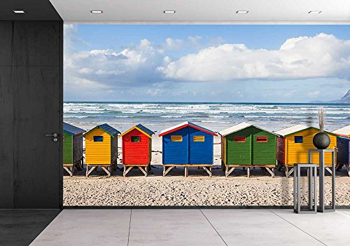 wall26 - Row of Brightly Colored Huts in Muizenberg Beach. Muizenberg, Cape Town. South Africa - Removable Wall Mural | Self-adhesive Large Wallpaper - 66x96 inches by wall26