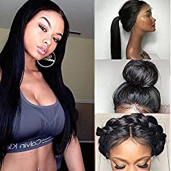Friya Glueless Long Straight Swiss Natural Black Lace Front Wig Heat Resistant Natural Hairline Hair Synthetic Lace Wigs For Women With Baby Hair 18""