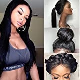 Friya Glueless Long Straight Swiss Natural Black Synthetic Lace Front Wig Heat Resistant Natural Hairline Hair Wigs For Women
