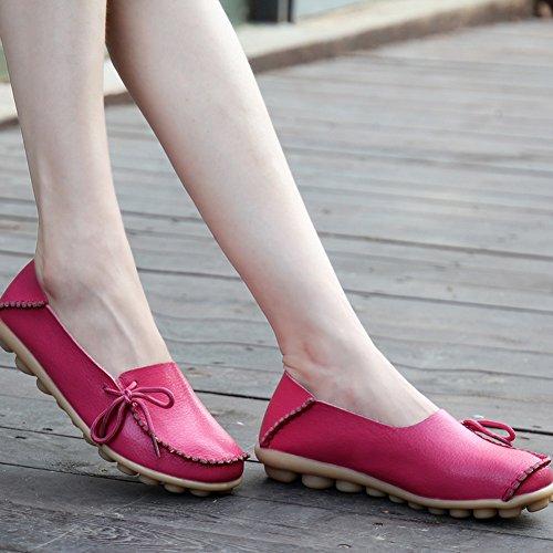 Yixinan Mode Flats Leren Casual Veterschoenen Voor Vrouw Perzik Rood