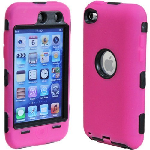 Hybrid Case compatible with Apple iPod touch 4th Generation, Black Hard / Hot Pink Skin