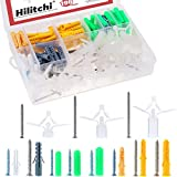 Hilitchi 196-Pcs [11-Sizes] Heavy Duty Drywall Ribbed Anchors Assortment Kit Masonry with Self Tapping Stainless Steel and Galvanized Steel Screws Wall Anchor Set