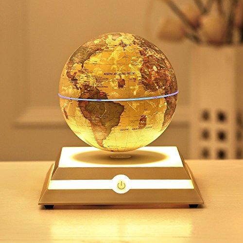 KABADDI Magnetic Floating Globe Anti-Gravity Rotating Levitating Globe World Map with Star Constellation & Zodiac Display for Home Office Desk Decor, Birthday Gift(6 inch Vintage Gold)