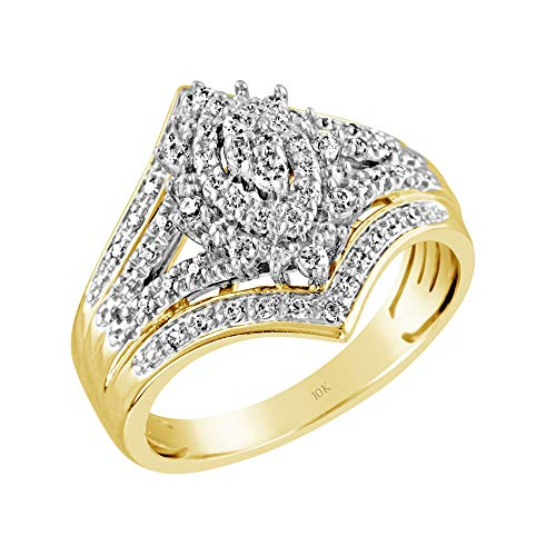 Brilliant Expressions 10K Yellow Gold 1/3 Cttw Conflict Free Diamond Regal Marquise Cluster Flared Engagement Ring (I-J Color, I2-I3 Clarity), Size 7