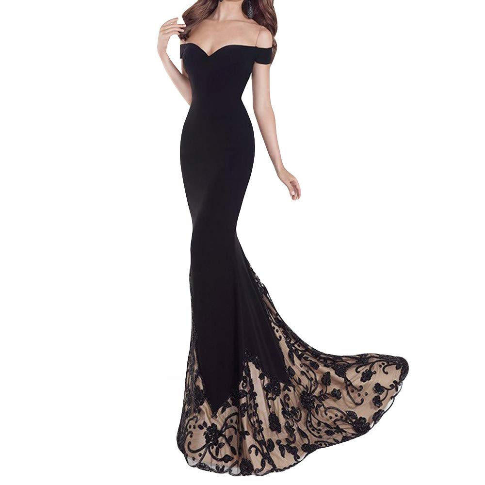 Hot!Woman's Lace Splice Off Shoulder Tube top Formal Dress Ninasill Solid Color Low Chest Slim Dress Elegant Mopping Skirt Black