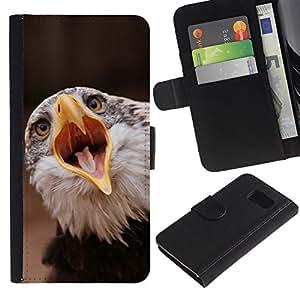 LECELL--Cuero de la tarjeta la carpeta del tirón Smartphone Slots Protección Holder For Sony Xperia Z3 Compact -- Boca grande Águila --
