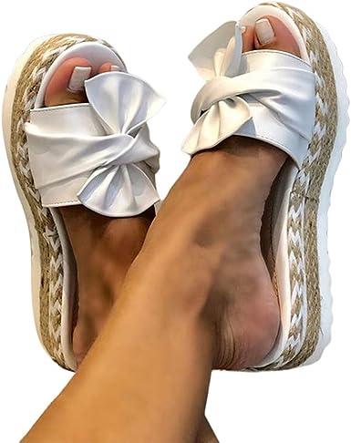 Winsummer Womens Open Toe Casual Slide Slippers Slip On Bowknot Backless Platform Sandals Summer Gladiator Flat Sandals