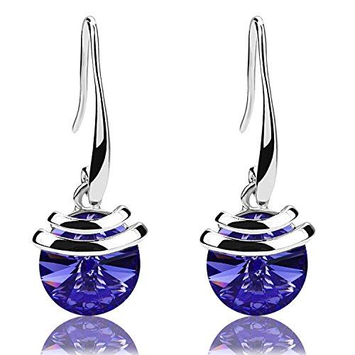 Mondaynoon Valentine's Day Gift Magic Love Bean Women's Swarovski Element Crystal French Wire Dangle Earrings (Tanzanite1177)