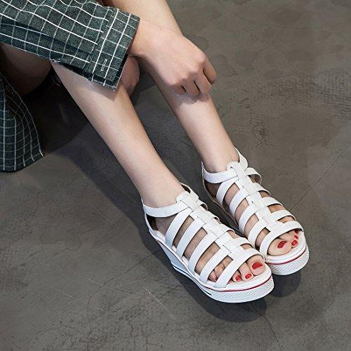 Femme 2 Sport Kivors Baskets Chaussures Casuel Montantes Mode Sneakers Toiles Blanc Compensées Uddqnr8fP