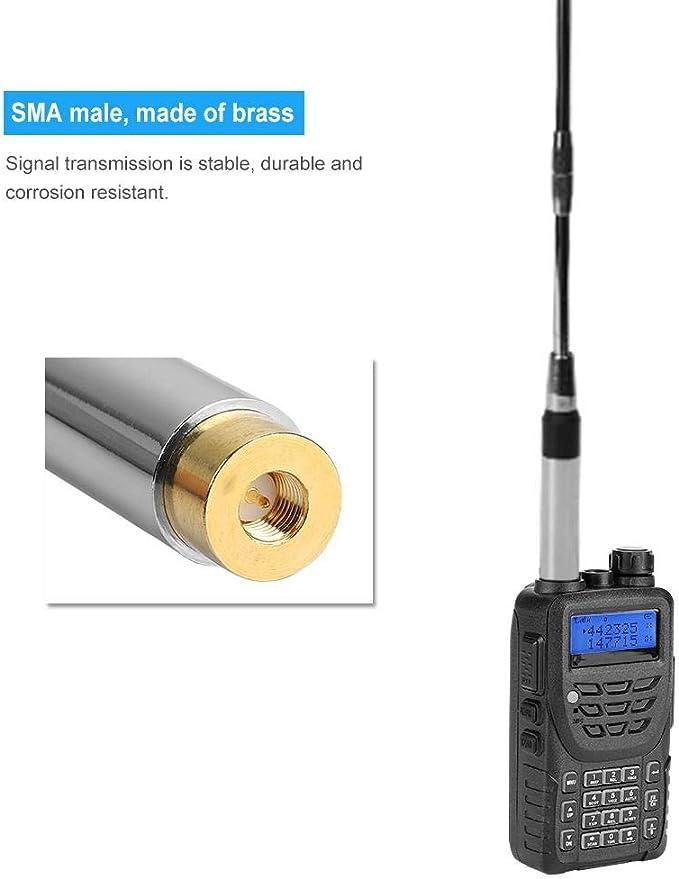 Oumij SMA-Hombre U/V Doble Banda 144 / 430Mhz Antena de Cuerda de Resorte para walkie Talkie, Pliegue de Cinco Secciones, Banda Doble VHF/UHF, ...