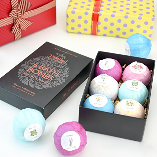 Bath Bombs Gift Set, Organic and Natural Bath Bomb Kit, Lush Fizzy Spa to Moisturize Dry Skin, Perfect for Bubble & Spa Bath, Best Gift for Women, Girlfriend and Kids, 6 x 4.0 oz