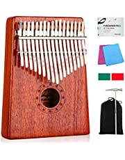 Kalimba 17 Keys Thumb Piano with Study Instruction and Tune Hammer, Portable Mbira Sanza African Wood Finger Piano, Gift for Kids Adult Beginners Professional photo