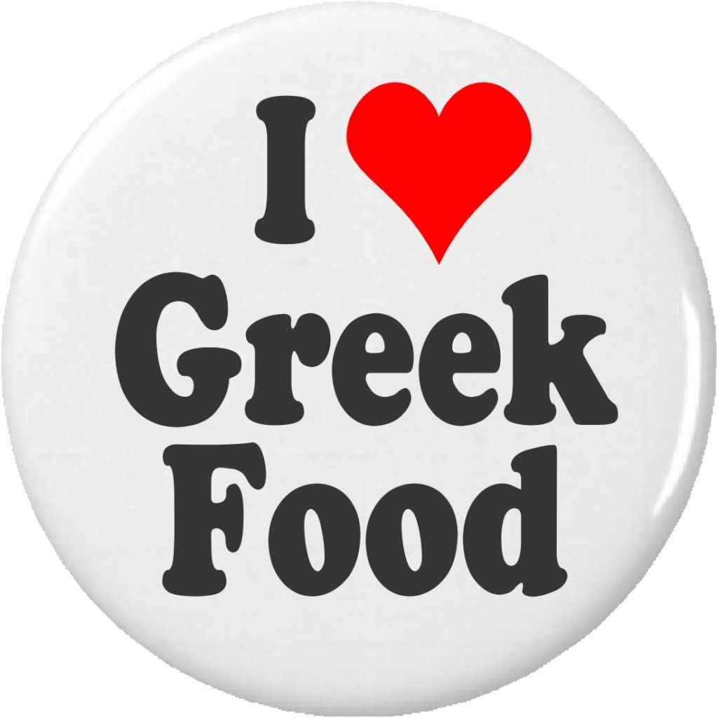 I Love Greek Food Pinback Button Pin Heart Greece