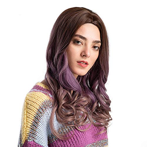 Geetobby Women's Gradient Purple Long Curly Simulation Wigs for Cosplay Party Lolita Free Wig Cap ()