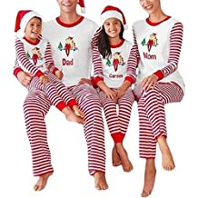 Cnlinkco Family Christmas Pajamas Holiday Striped Matching Sleepwear Sets for Men, Women, Kids