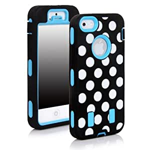MagicSky Plastic Silicone Armored Hybrid Polka Dots Pattern Case for Apple iPhone 5/5S - 1 Pack - Retail Packaging - Light Blue
