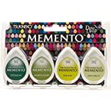 Tsukineko 4-Pack Assortment Memento Dew Drops Fade-Resistant Ink, Greenhouse