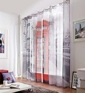 Calle de Londres Cabina Teléfono 58x90 cortinas forradas, con ojales # retsnimtsew como