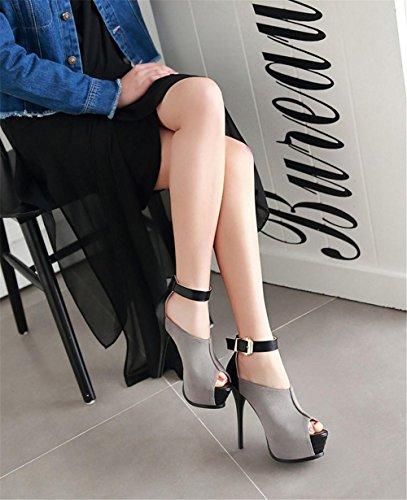 Pie 5 Furtivamente Estilete Señoras Alto 38 Tobillo Mujer uk Tamaño eur42uk85 Eur Del 5 Plataforma Dedo Sandalias Strappy Correa Gray Mirar Zapatos Tacón Nvxie xCz1nww