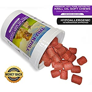 #1 Premium Antarctic Krill Oil Soft Chews for Dogs | Rich in Omega 3 | Astaxanthin | Vitamin E | For Skin and Coat | Low Allergen | Low Calorie | cGMP Certified | Made in USA | 60 Savory Soft Chews