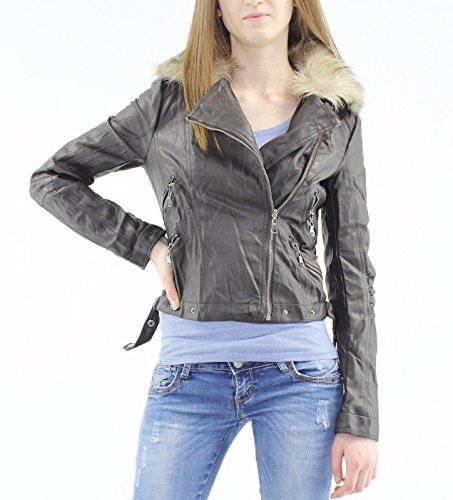 Womens Ladies Faux Leather PU Jacket Fur Collar Cropped Zip Biker Longline Coat [Coffee M] (Cropped Jacket Brown)