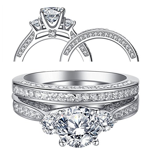 Mabella Wedding Ring Set Three Stone 2.3 Carats Round Cut Cubic Zirconia Sterling Silver for - Ring Stone Round Setting 5