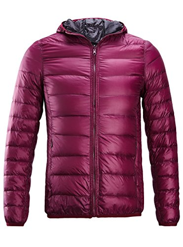 Down Jacket for Women,Reversible Packable Lightweight Hooded Down Jacket,Wine US L