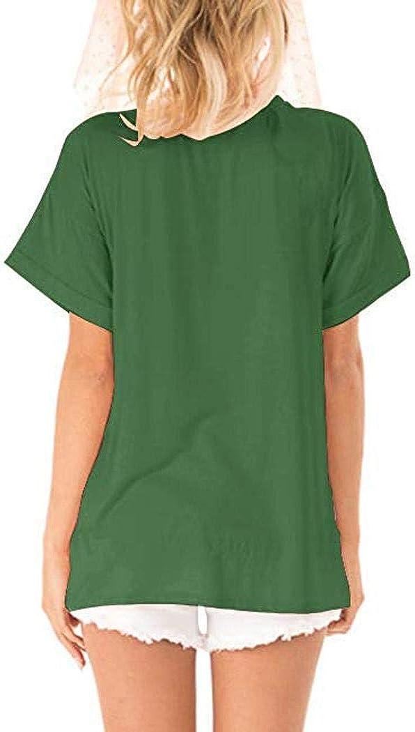 Zippem Women Casual V-Neck Short Sleeve Sequin Pocket Patchwork Loose T-Shirt Top Knits /& Tees