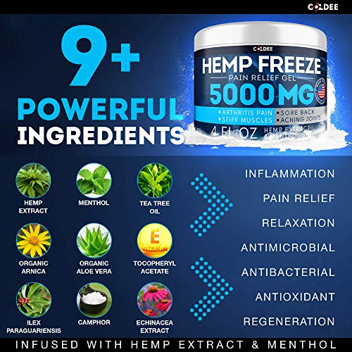 51fKd5DE36L - Coldee Pain Relief Hemp Oil Gel - 5000 MG, 4 OZ - Max Strength & Efficiency - Natural Hemp Extract for Arthritis, Knee, Joint & Back Pain - Made in USA - Hemp Cream for Inflammation & Sore Muscles