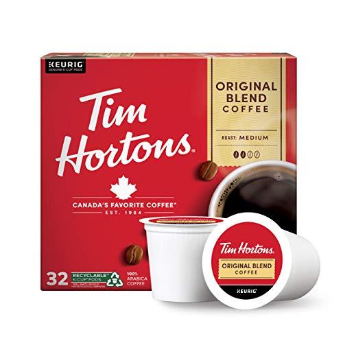 Tim Hortons Original Blend, Medium Roast Coffee, Single-Serve K-Cup Pods Compatible with Keurig Brewers, 32ct K-Cups