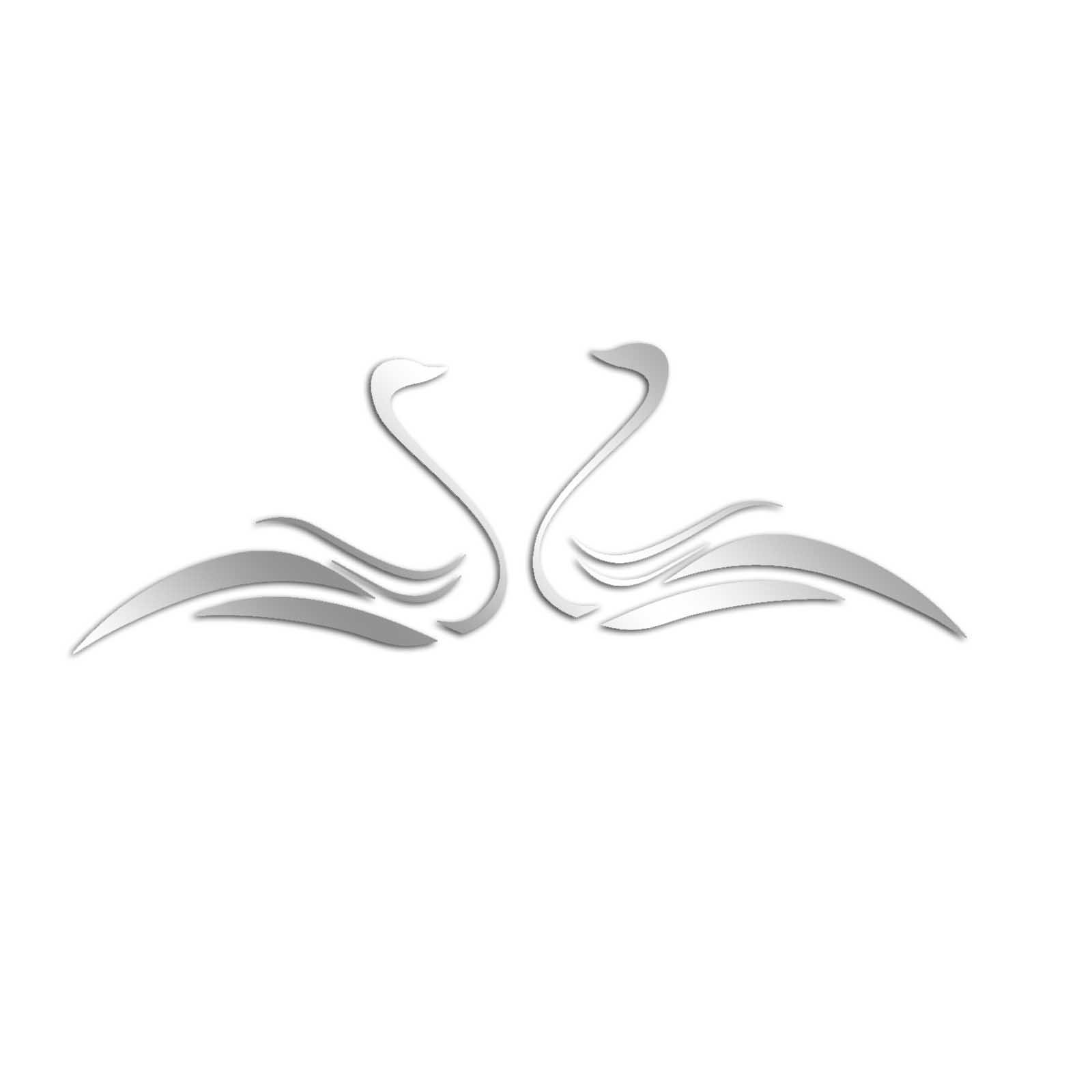 Decorative Removable Wall Sticker Mirror PLEXIGLASS (24.8'' x 8.7'') Number of Pieces 10 / Glass Modern Art Pattern Ornamental Design Swan Animal / Background Decoration Perfect Design For Home, Office,