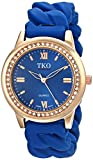 TKO Women's Round Rose Gold Metal Crystal Bezel Blue Stretch Expansion Rubber Chain Link Roman Numeral Watch TK640RBL