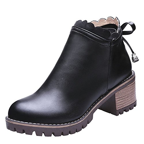 Carolbar Kvinners Zip Bowknots Dekorative Grense Bedårende Søt Lolita Boots Black