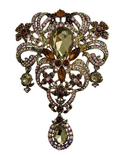TTjewelry Silver-Tone Art Deco Flower Drop Brooch Pin Pendant Red Austria Crystal
